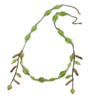 Vintage Inspired Green Ceramic Bead with Tassel Bronze Tone Chain Necklace - 96cm L