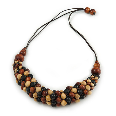 Brown/ Black/ Natural Cluster Bead Cord Necklace - 70cm L - main view