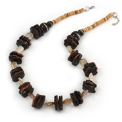 Brown Wood and Natural Sea Shell Bead Necklace - 60cm L/ 3cm Ext