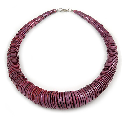 Chunky Glittering Purple Coin Shape Wood Bead Necklace - 56cm L