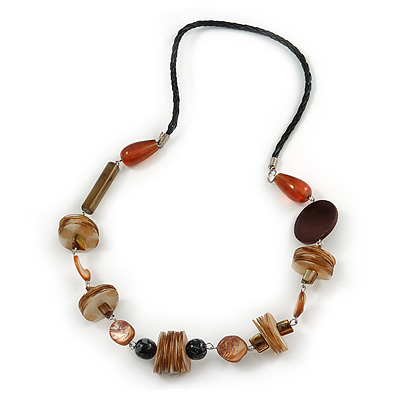 Brown/ Natural Wood, Shell Bead with Faux Black Leather Cord Necklace - 66cm L