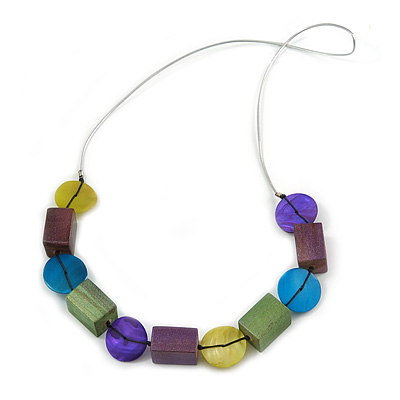 Multicoloured Wood and Shell Bead Metallic Silver Cord Necklace - 82cm L