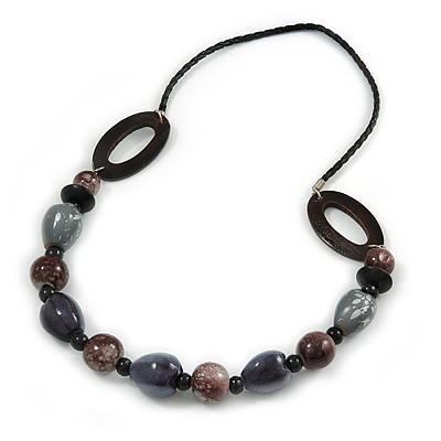 Grey/ Brown Wood Beads with Black Faux Leather Cord Necklace - 70cm L