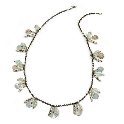 Transparent Glass Bead, Sea Shell Charm with Bronze Tone Chain Necklace - 80cm L