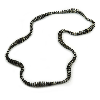 Long Wood Bead Necklace in Black/ White Colour - 120cm L