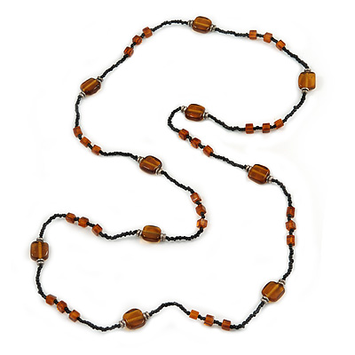 Long Black/ Brown Glass Bead Necklace - 120cm L - main view
