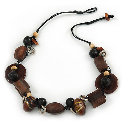 Wood and Ceramic Bead with Cotton Cord Necklace In Brown/ Black - 60cm L