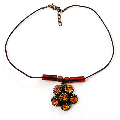 Copper Orange Crystal Floral Pendant - 36cm L/ 3cm Ext