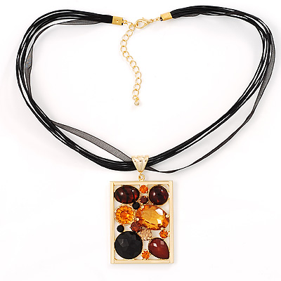 Gold Jumbo Rectangular Multi-Stranded Fashion Pendant
