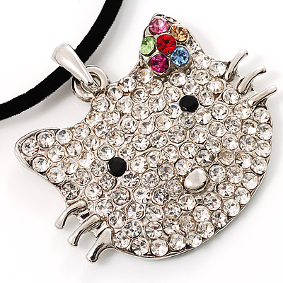 Romantic Kitty Crystal Bead Silver Tone Necklace