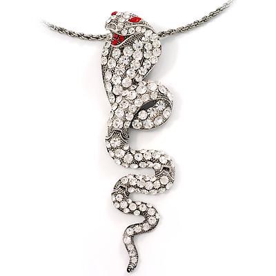 Antique Silver Sparkling Cobra Fashion Pendant