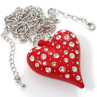 Red Metal Puffed Heart Long Costume Pendant