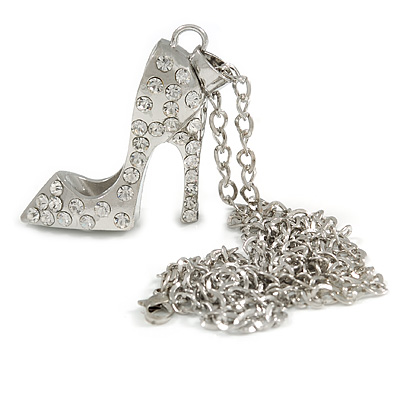 Silver Tone Crystal High Heel Shoe Pendant with Chain - 70cm L