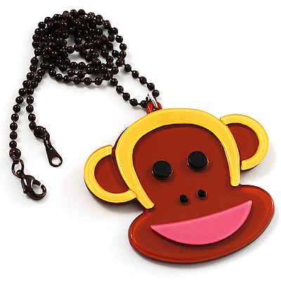 Funky Monkey Brown Plastic Pendant