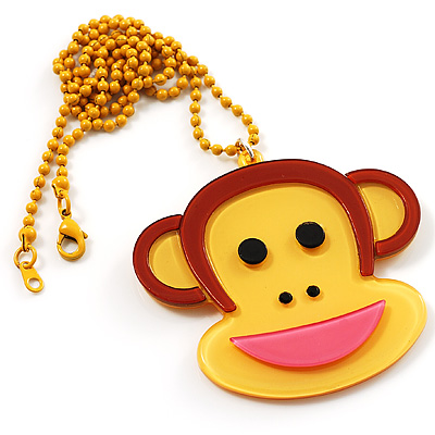 Funky Monkey Yellow Plastic Pendant