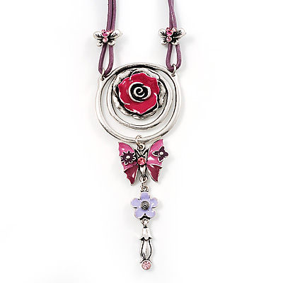 Rose And Butterfly Vintage Leather Cord Pendant (Purple, Pink&Lilac) - main view