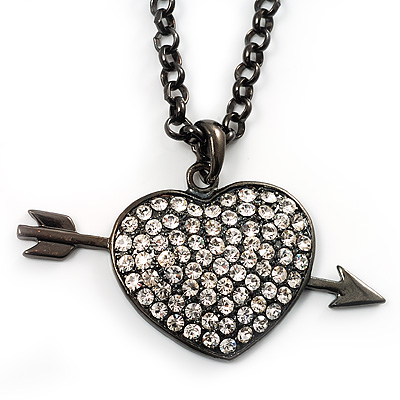 Black-Tone Clear Crystal Heart & Arrow Fashion Pendant