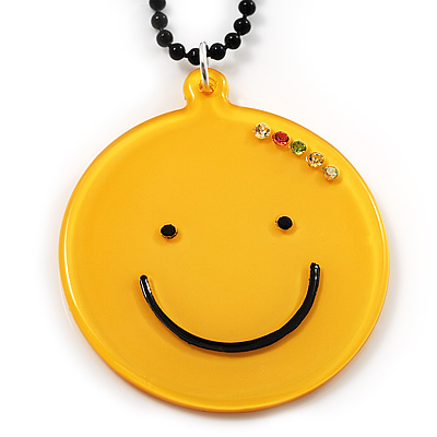 Yellow Plastic Smiling Face Pendant (Black)
