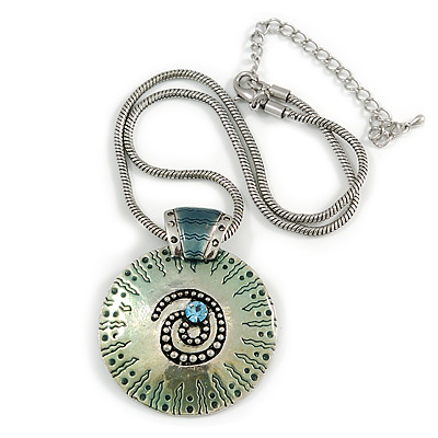 Light Blue Ornate Enamel Round Pendant Necklace