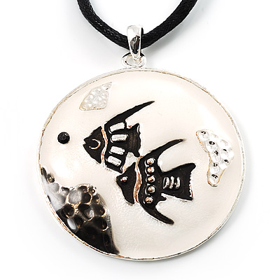 Black&White Enamel Round Fish Cord Pendant - main view