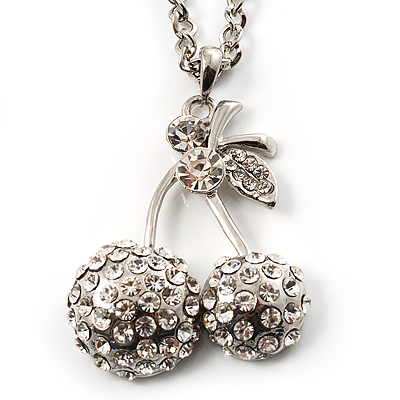 Long Double Cherry Crystal Pendant (Silver)