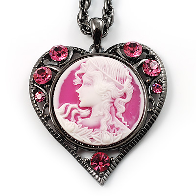 Pink Crystal Cameo 'Lady With Flowers' Heart Pendant