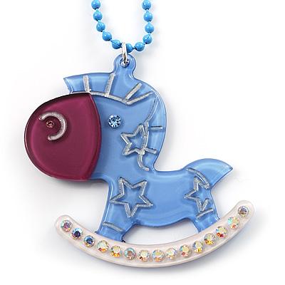 Light Blue Crystal Rocking Horse Pendant