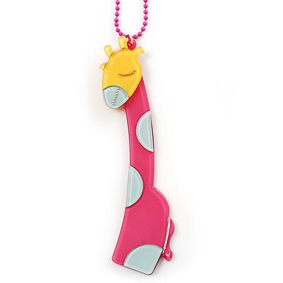 Tall Pink Plastic Giraffe Pendant