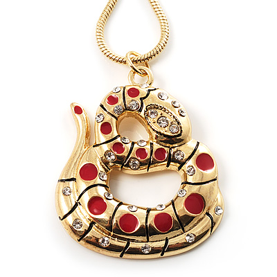 Gold Tone Crystal Coiled Snake Pendant