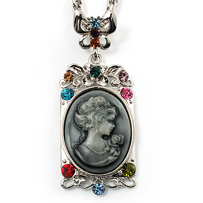 Long 'Classic Lady' Multicoloured Crystal Cameo Pendant Necklace (Silver Tone)
