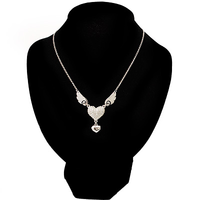 Silver Plated Angel Wings&Heart Fashion Pendant