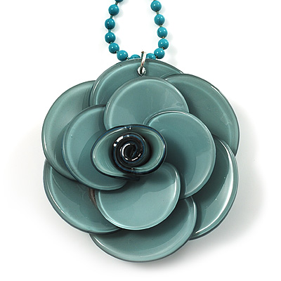 Pale Green  Acrylic Rose Pendant - 42cm