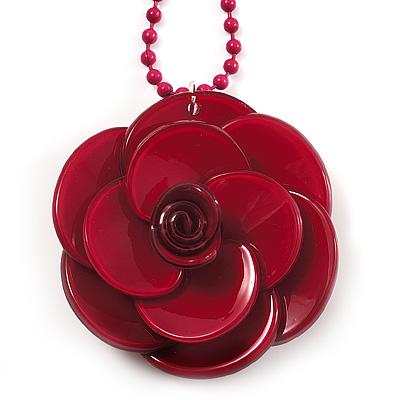 Crimson Acrylic Rose Pendant - 42cm