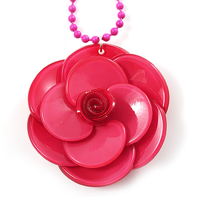 Bright Pink  Acrylic Rose Pendant - 42cm