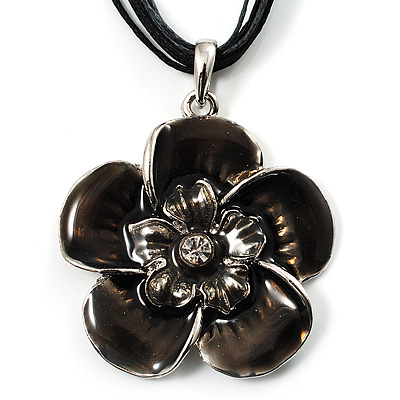 Black Grey Cotton Cord Enamel Daisy Pendant