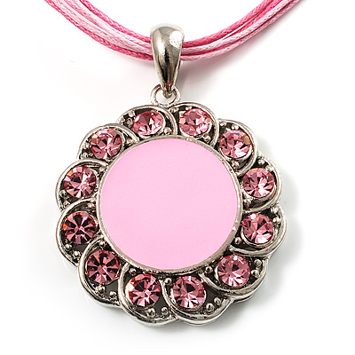 Pink Crystal Enamel Medallion Cotton Cord Pendant (Silver Tone) -38cm
