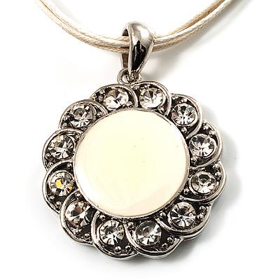 Milk White Crystal Enamel Medallion Cotton Cord Pendant (Silver Tone) -38cm