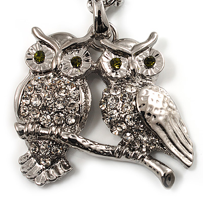 Long Diamante Owl Pendant Necklace (Silver Tone) - 66cm