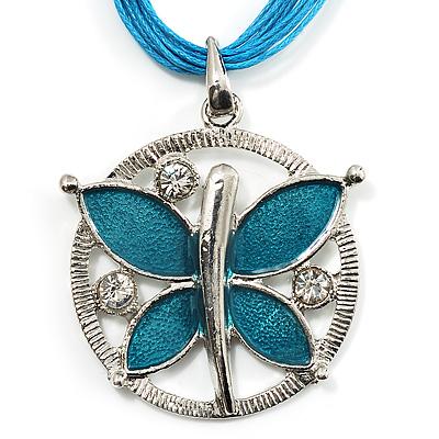Light Blue Enamel Cotton Cord Butterfly Pendant Necklace (Silver Tone) - 40cm Length