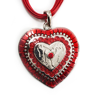 Red Enamel Crystal Heart Cotton Cord Pendant Necklace(Silver Tone) - 40cm Lengh - main view