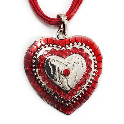 Red Enamel Crystal Heart Cotton Cord Pendant Necklace(Silver Tone) - 40cm Lengh
