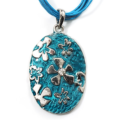 Light Blue Enamel Floral Oval Pendant With Cotton Cord (Silver Tone) - 38cm Length