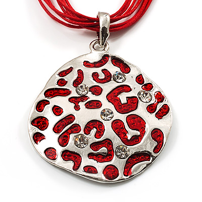Bright Red Enamel Crystal Oval Pendant With Cotton Cord (Silver Tone) - 38cm Length