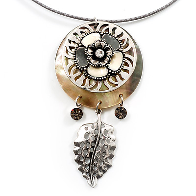 Stunning Floral Shell Drop Pendant With Leather Style Cord Necklace (Silver Tone) - 40cm Length