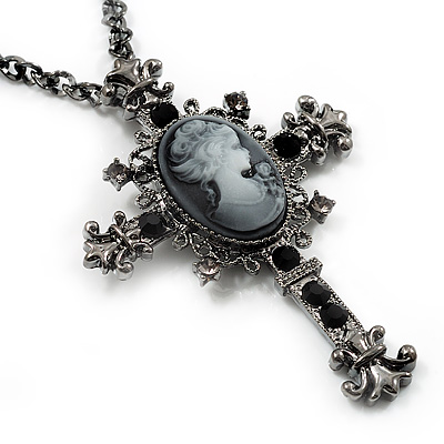 Victorian Cross Cameo Pendant Necklace (Gun Metal) - 65cm Length