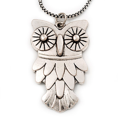 Long Owl Pendant In Silver Plated Metal - 64cm Length - main view