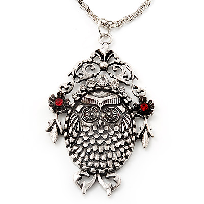 Long Filigree Diamante Owl Pendant Necklace In Burn Silver Metal - 76cm length