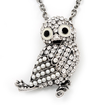 Long Cute Crystal & Simulated Pearl Owl Pendant Necklace In Antique Silver Metal - 60cm Length (10cm Extension)