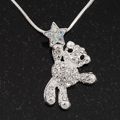 Crystal Teddy Bear With Star Pendant Necklace In Rhodium Plated Metal - 42cm Length