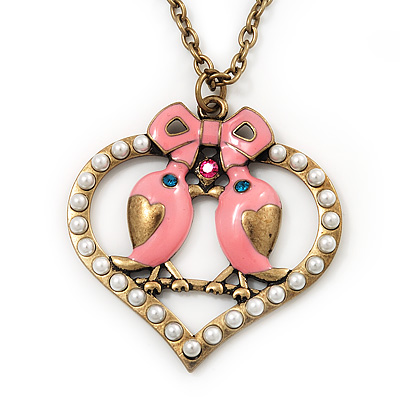 Pink Enamel 'Love Birds' Pendant Necklace In Bronze Tone Metal - 74cm Length